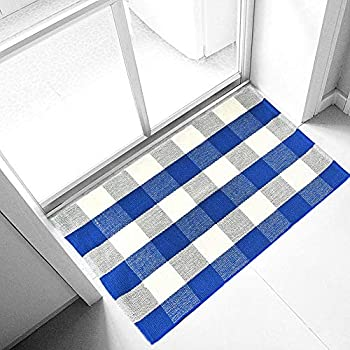 Amazon Com Levinis Blue Buffalo Plaid Rugs 2 215 3 Cotton