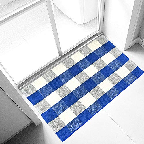 (Ukeler Buffalo Plaid Rugs 2'×3'- Machine Washable Blue Plaid Outdoor Doormat, Farmhouse Rug for Front Porch/Kitchen/Sink/Bathroom)