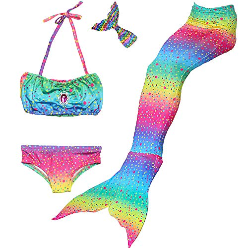 Danvren 3Pcs Mermaid Tails for Girls Swimming Swimsuit Party Supplies Costume Swimwear Bikini for 3-12Y  (Sparkling Candy Design, Child S Height 42-44in (3-4Y)) -