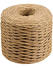 SUPVOX 200M Raffia Paper Ribbon Craft Packing Paper Twine Braided Rope Paper String for Festival Gifts DIY Decoration and Weaving Hat Cap (Coffee)
