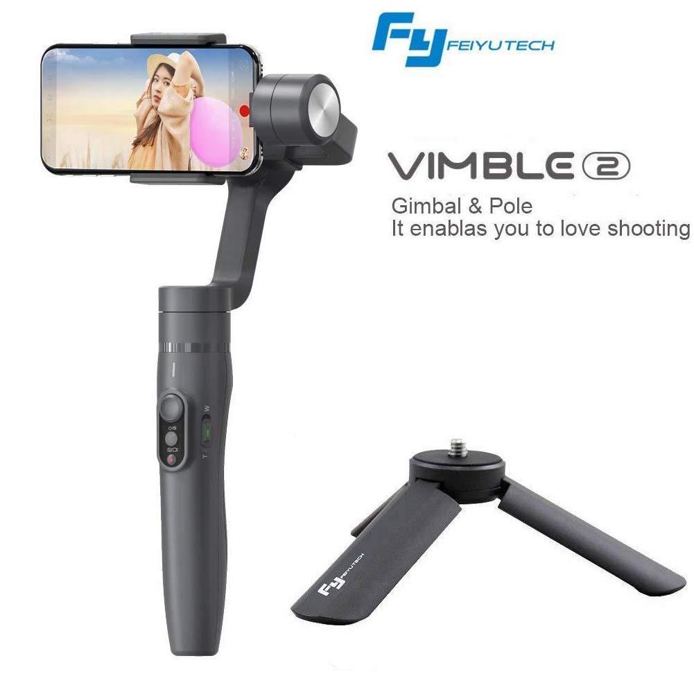 Feiyu vimble 2拡張可能ハンドヘルド3軸ジンバルスタビライザーforスマートフォン(6インチ以内、内200 g) with三脚固定ロッド(ブラック)   B07FTB27DT