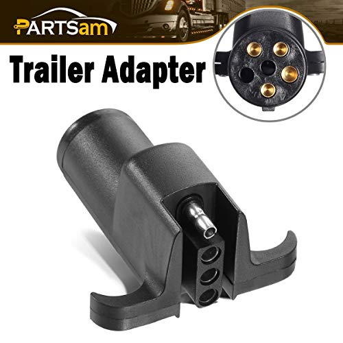 Nilight 7-Way to 4-Way Flat Blade Trailer Adapter Waterproof Rugged Nylon Housing 7-pin to 4-pin Trailer Wiring Adapter 2 Years Warranty