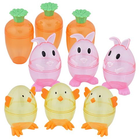 Happy Easter Basket Kids Toddlers Children Pre Made Eggs Clear Carrot Shaped Easter Eggs 3 Fillable Treat Containers Orange