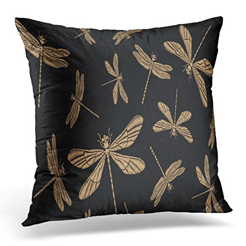 Breezat Throw Pillow Cover Pink Dragonfly Vintage with Gold Embroidered Dragonflies and Butterflies Manufacturing Patch Decorative Pillow Case Home Decor Square 18x18 Inches Pillowcase