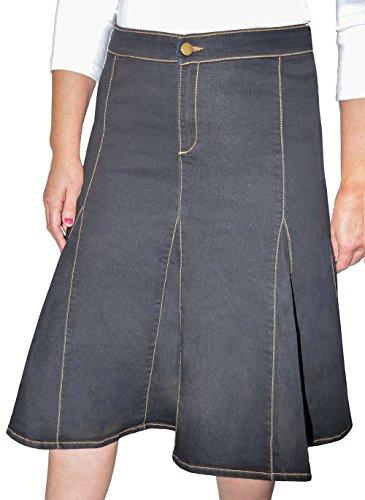 Kosher Casual Big Girl's Modest Knee Length Flared Stretch Denim Skirt With Gored Seamed Panels No Slits Size 10 Stonewashed Black (Stretch Gored Skirt)