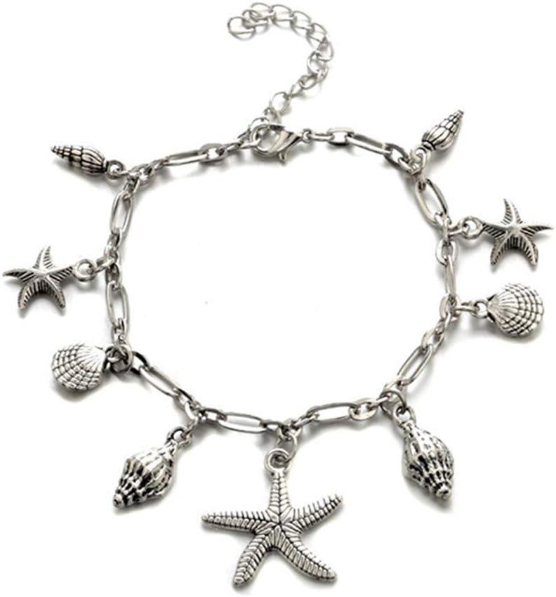 Hengsong Argent Cheville avec /Étoile de mer Coquille Pendentif Multicouche Bracelet La Plage de Cheville pour Femme