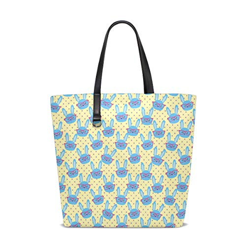 Women's Work Tote Soft Leather Cute Blue Bunny With Glasses Yellow Shoulder Bag