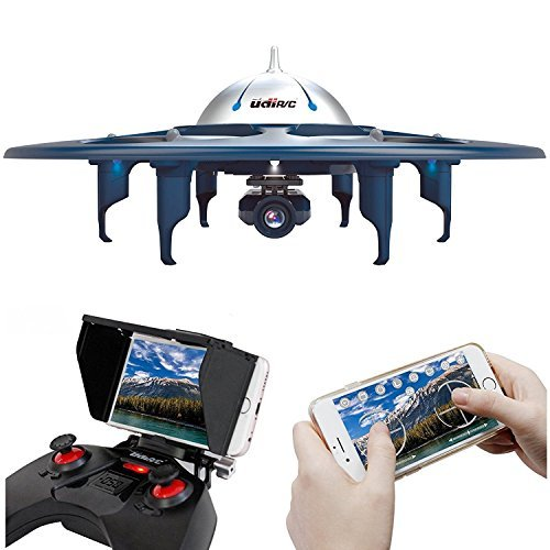 UDI RC U845 WiFi FPV UFO Drone with 720P HD Camera RC Quadcopter with One Key Take-off/Landing Gravity Induction Includes Bonus Battery