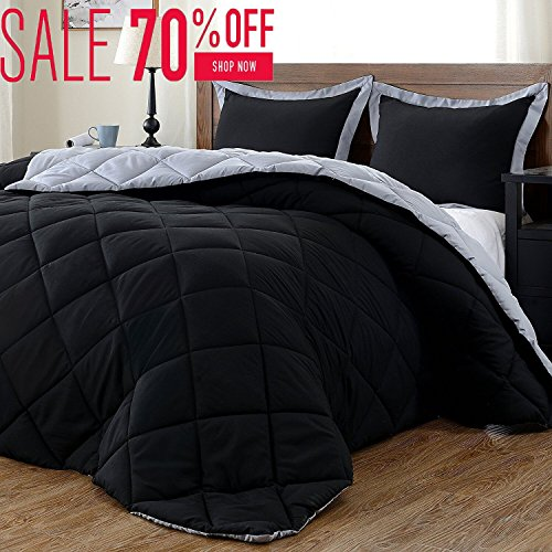 Lightweight Solid Comforter Set (Twin) with 1 Pillow Sham - 2-Piece Set - Black and Grey - Hypoallergenic Down Alternative Reversible Comforter by (Inexpensive Twin Comforter Sets)