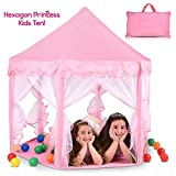 Abco Tech Hexagon Shaped Pink Princess Castle Girls Play Tent with Star Shaped LED Lights – Stimulate Imagination – Ideal for Pretend or Role Play – Hassle-Free Assembly & Travel Friendly