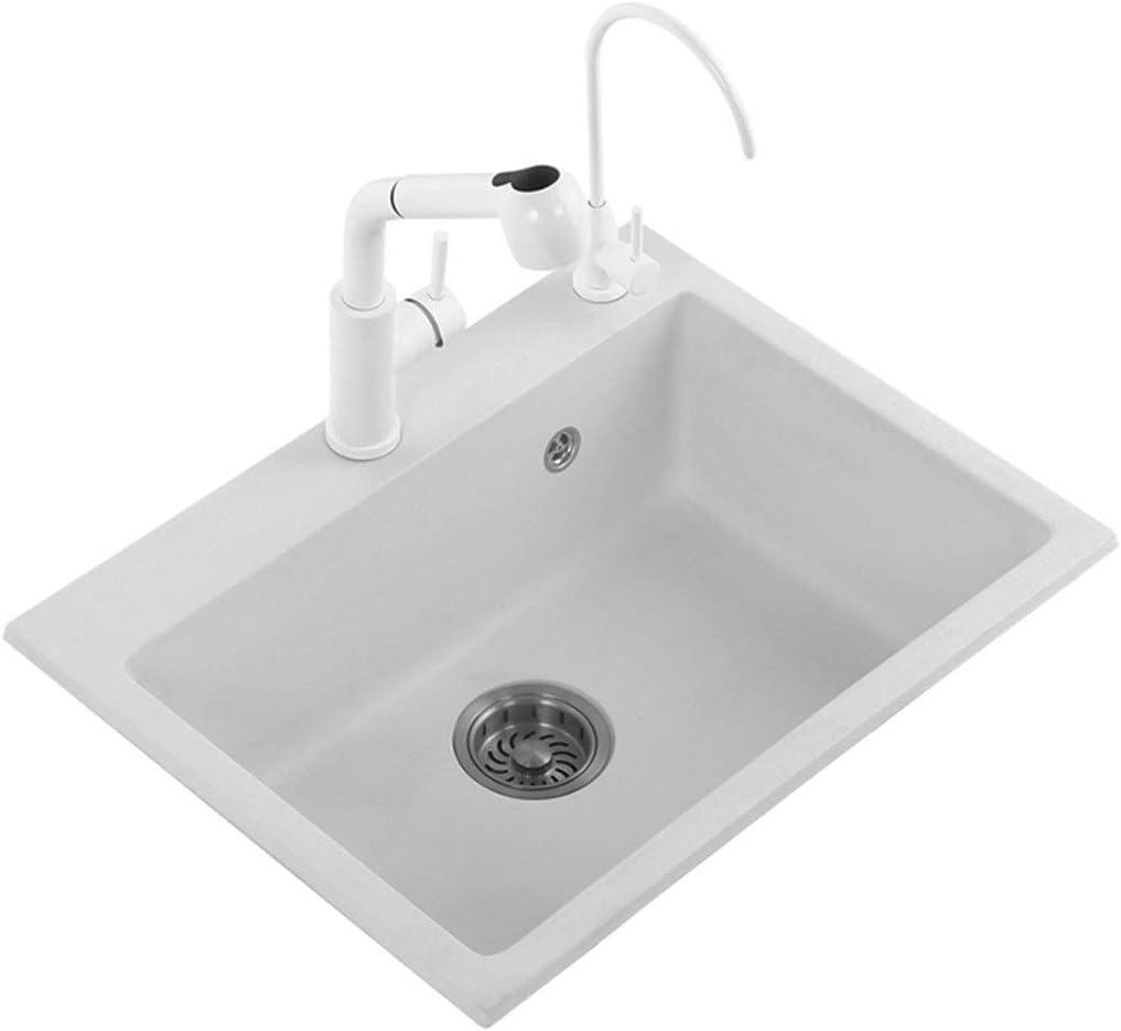 シンク周り用品 台所の流し台所シングルボウルの流し白い長方形の肥厚の流し防汚きれいになること容易流しギフト (Color : 白, Size : 71*49*22cm)