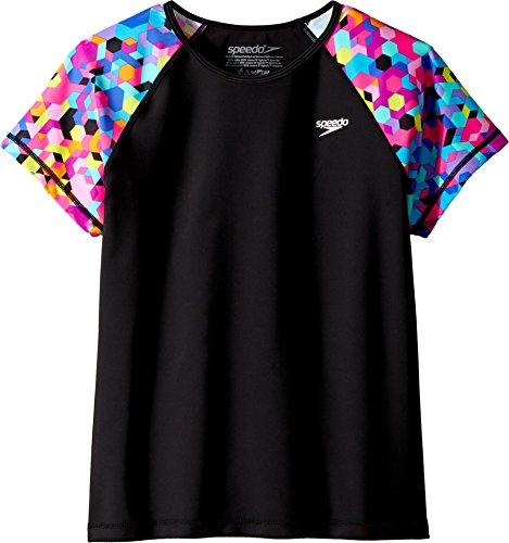 Price comparison product image Speedo Girls Short Sleeve Print Rashguard, New Black, Large