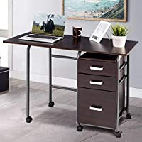 Deals on Folding Computer Laptop Desk Wheeled Home Office Furniture