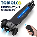 TOMOLOO Electric Skateboard with Bluetooth Remote Controller and App, 3-Wheel All Terrain Longboard 15.5 MPH Top Speed, 265 lbs Max Load with LED Night Lights