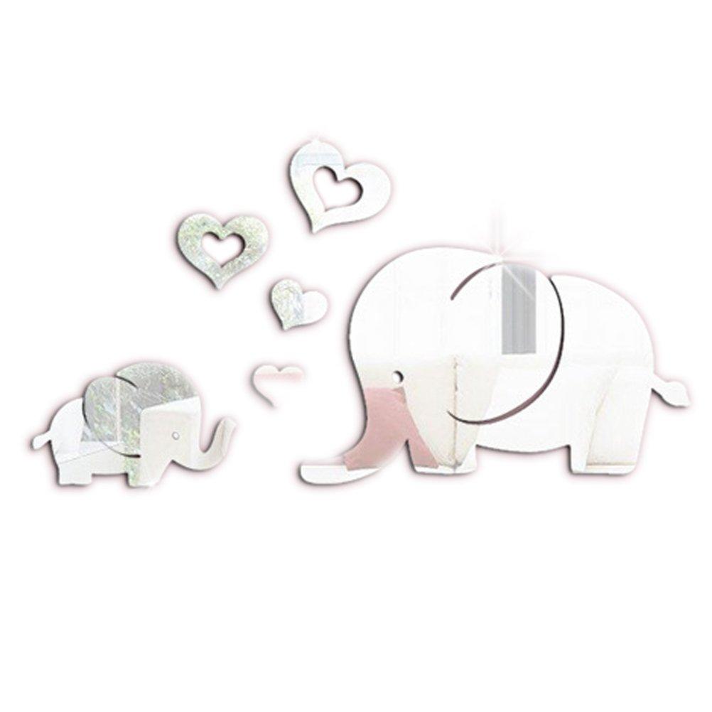 VORCOOL 6 Unids Pegatina de la Pared Espejo 3D Elefante de ...