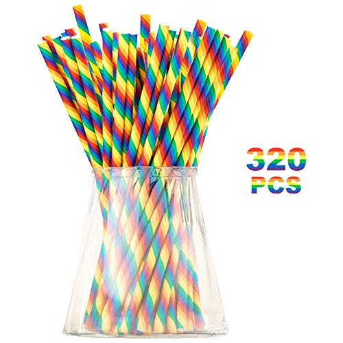 (Biodegradable Rainbow Paper Straws for Party Supplies, Birthday, LGBTQ, Gay Pride Day, Wedding, Anniversary Decorations and Holiday Celebrations - Eco-Friendly Drinking Straws (Rainbow,)