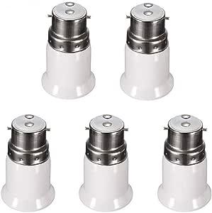 B22 to E27 Edison Screw LED Bulb Base Socket Converter Adaptor Fitting Extender Holder Energy Saving Lamp (5PCS)