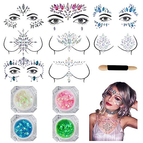 Face Jewels Festival - 8 Sets Face Gems Glitter Stickers Breast Body Jewelry Stickers Crystal Nipple Tattoo Stickers with 4 Boxes Chunky Face Glitter, Eyes Face Body Temporary Tattoos