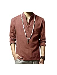 Men's Linen Casual Henley Shirts Long Sleeve Solid Color