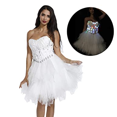 Amazoncom Mayever Light Up Classy Party Dress White Irregular Prom