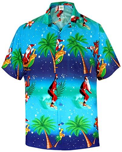 La Leela Men's Christmas Hawaiian Shirt Button Down Point Collar Front Pocket Santa Claus Surfing Flamingo Beach Palm Trees Party Aloha Theme Blue (Flamingo Santa)