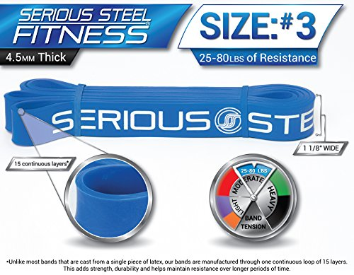 Serious Steel Fitness Beginner Assisted Pull-up &Crossfit Resistance Band Package#2, 3 Band Set (10-80 lbs) FREE Pull-up and Band Starter e-Guide by Serious Steel Fitness (Image #3)