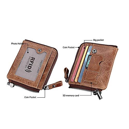 Pour Minimaliste Avec Vintage De Zippée Brown Cuir Porte En Vachette Brun cartes Homme Yter Portefeuille couleur Poche PEwvn