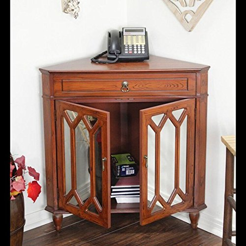 Heather Ann Creations The Dorset Collection Contemporary Style Wooden Double Door Floor Storage Living Room Corner Cabinet with Hexagonal Mirror Inserts and 1-Drawer, Mahogany (Mahogany Bathroom Cabinets)