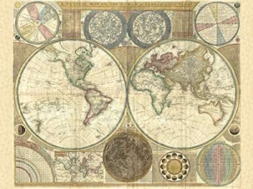 (Posterazzi Double hemisphere map of the world 1794 Poster Print by Samuel Dunn (22 x 28))