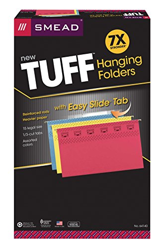 Smead TUFF Hanging File Folder with Easy Slide Tab, 1/3-Cut Adjustable Plastic Tabs, Legal Size, Assorted Colors, 15 per Box (64140)