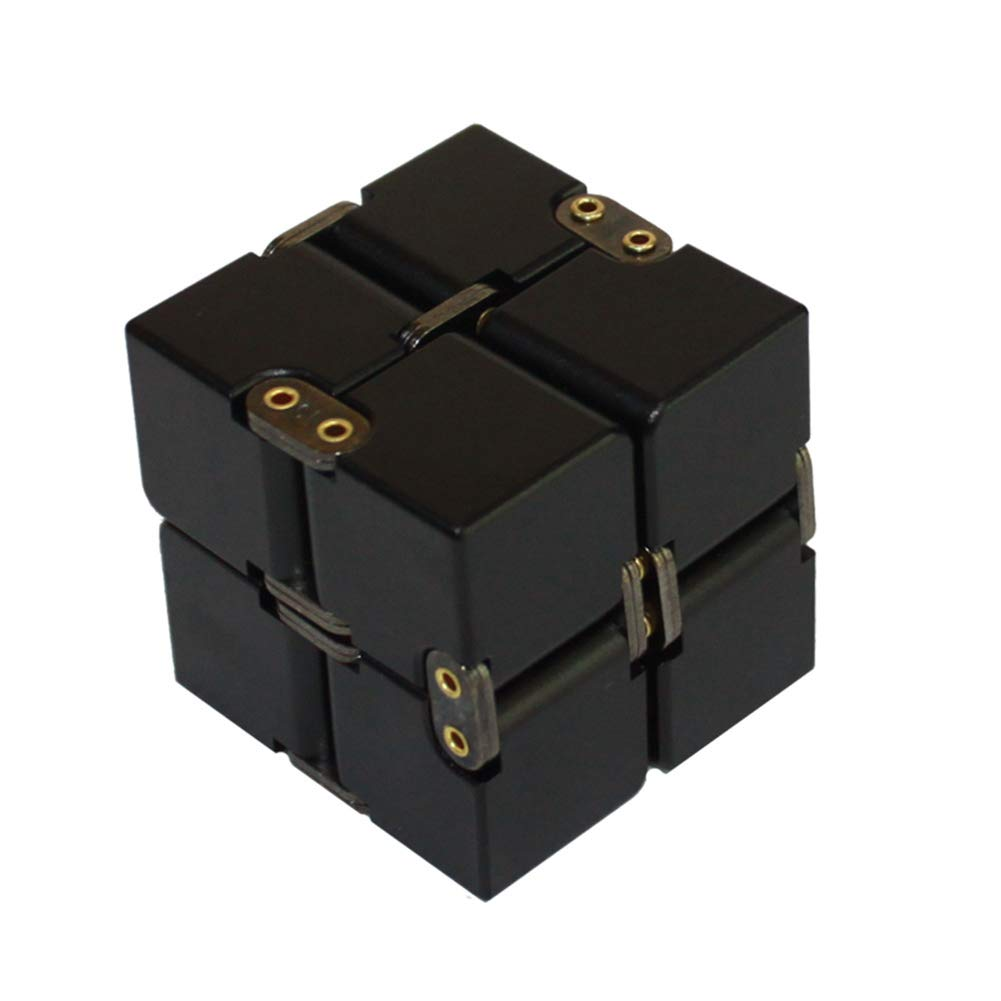 TISESIT INDOOR Aluminum Alloy Metal Infinity Cube Fidget Cube Handheld Fidget Toy Desk Toy with Exclusive Case, Sturdy, Heavy, Relieve Stress and Anxiety, for ADD, ADHD, OCD,A