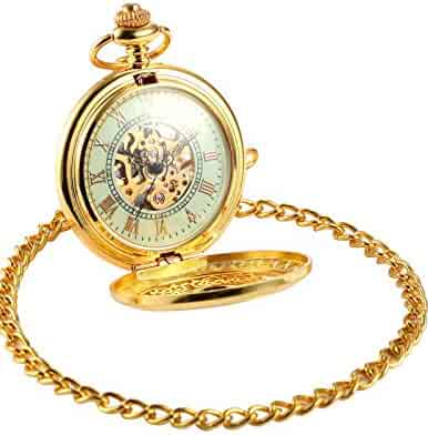 AMPM24 Luxury Golden Luminous Men's Mechanical Pocket Watch + Chain Gift WPK020