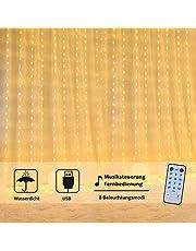 OUSFOT Cortina de Luces, 3m*3m 300LED 8 Modos de Luz Blanco Cálido Resistente al agua para decoración de Casa , exterior , boda Fiesta Navidad Jardin Terrasa Dormitorio (activación de musica)