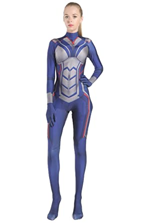 Newhui Adult Womens Blue Spandex Zentai Jumpsuit Halloween Cosplay Tights Suit Plus Size Medium
