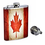 canada flask - Vintage Canada Perfection In Style 8oz Stainless Steel Whiskey Flask with Free Funnel D-001