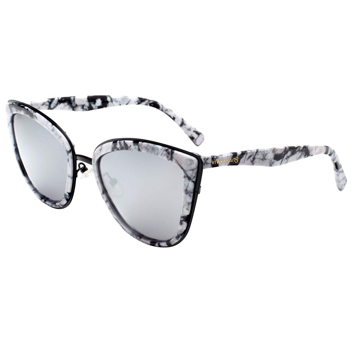 VIVIENFANG Color Mirrored Oversized Cateye Sunglasses Fashion Polarized Shades For Women P1891I White Marble by VIVIENFANG