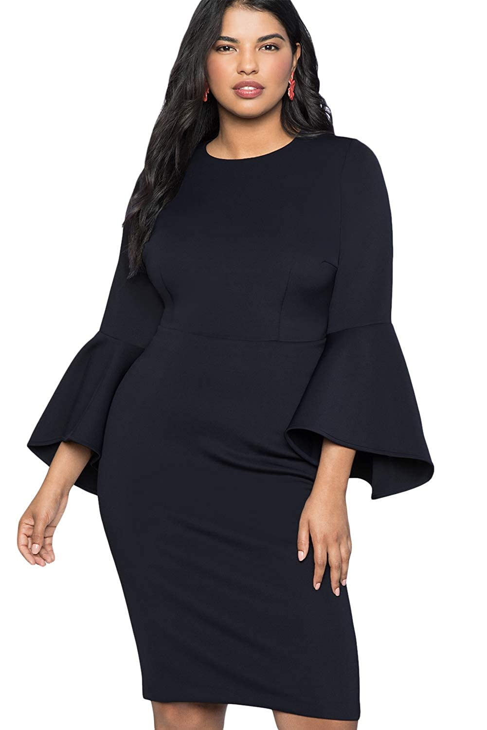 Rela Bota Women's Plus Size Flare Bell Sleeve Midi Cocktail Party Scuba Dress