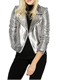 Richlulu Womens Sparkly Metallic Cool Science Fiction Motorcycle Jacket