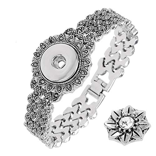 LEGENSTAR Snap Buttons Bracelet Interchangeable Bangles Retro Silver Black Crystal Bangle for Women DIY Jewelry Making -