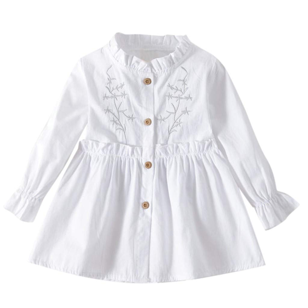 Yihaojia Girls Dress Toddler Girl Clothes Long Sleeve Button Down Ruffle Dresses Floral Print for Kids 1-4 Years (L, White)