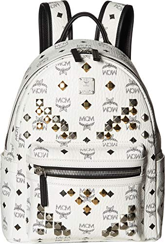 MCM Women's M Stud Small Stark Backpack, White, One Size