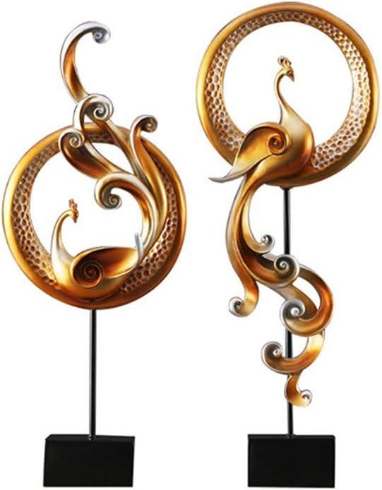 Wsw クリエイティブフェニックスデコレーション/ソフトトップ工芸/装飾品/装飾品リビングルームのテレビキャビネットエントランスキャビネット プライムデー (色 : Gold, Size : M)