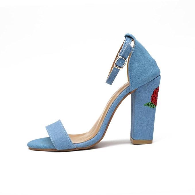 Caviglia Tacchi Alti Casual Open Toe Partito Singel Scarpe (36=Asia 37, blu)