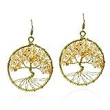 Eternal Tree of Life Yellow Citrine Stone Branch Brass Dangle Earrings