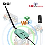 KuWFi High Power Wireless Adapter, Long range High Gain WiFi Antenna 1000mW High Gain Wireless WiFi Network adapter With 5dBi Antenna Connects to Computer to Boost WiFi antenna long Range