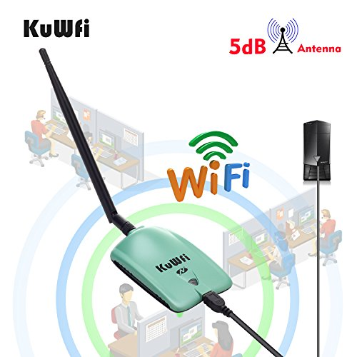 KuWFi High Power Wireless Adapter, Long range High Gain WiFi Antenna 1000mW High Gain Wireless WiFi Network adapter With 5dBi Antenna Connects to Computer to Boost WiFi antenna long Range by KuWFi