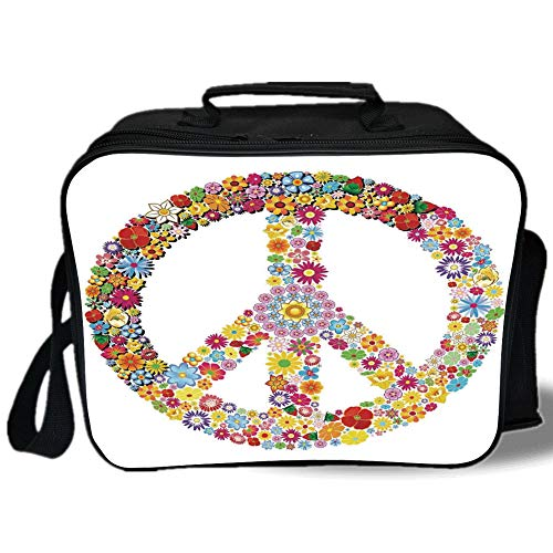 Groovy Decorations 3D Print Insulated Lunch Bag,Floral Peace Sign Summer Spring Blooms Love Happiness Themed Illustration Print,for Work/School/Picnic,Multi