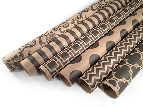 (Kraft and Black Wrapping Paper Set - 6 Rolls - Multiple Patterns - 30