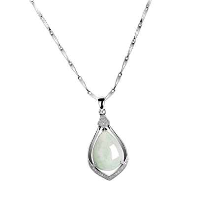 a882ddbc15fa91 Image Unavailable. Image not available for. Color: Natural Jade Teardrop  Pendant Waterdrop 925 Sterling Silver Necklace 18