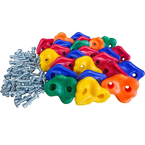 Kids Rock Wall Climbing Holds - Swing Set Accessories, Indoor & Outdoor Playground Equipment, Jungle Gyms, Playsets Swings, Large Assorted Screw On - Kids Rock Climbing Holds